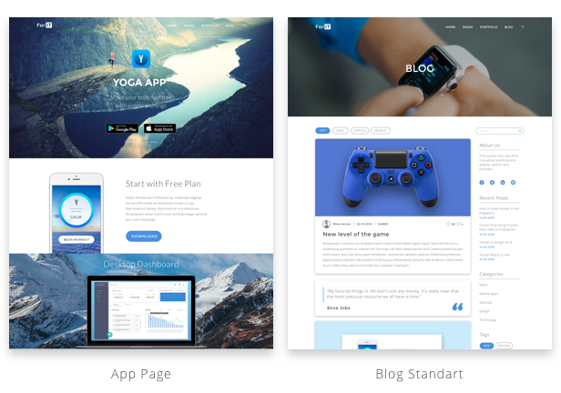 Different Home Pages: App Case, Sofware as a Service landing page, Single Product Showcase